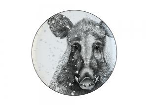 Lomonosov Porcelain Decorative Wall Plate Totem Animal WILD BOAR 9.1