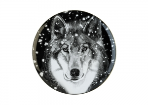 Lomonosov Porcelain Decorative Wall Plate Totem Animal Wolf 11.8 in 300 mm