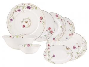 Lomonosov Porcelain Dining Set Service 24 items Flowering Sweet Pea
