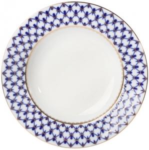 Lomonosov Imperial Porcelain Dinner Plate Cobalt Net European-2 Flat 10.6