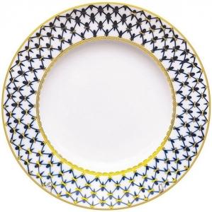 Lomonosov Imperial Porcelain Dinner Plate Cobalt Net Smooth Flat 10.6