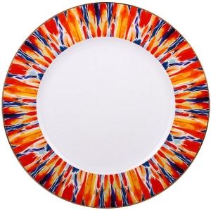 Lomonosov Imperial Porcelain Dinner Plate Flame Flower 10.6