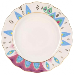 Lomonosov Imperial Porcelain Dinner Plate Peacock's Feather