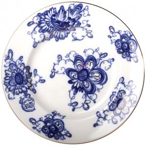 Lomonosov Imperial Porcelain Flat Dinner Plate Singing Garden 9.4