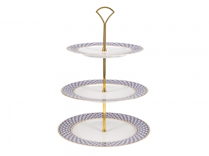 Lomonosov Porcelain Fruit Stand 3 Shelves Cobalt Net
