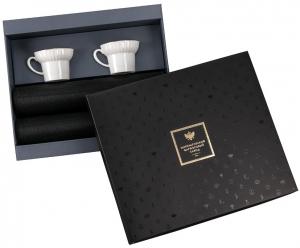 Lomonosov Imperial Porcelain Gift Set 2 Cups Wave Gold Edging and 2 Serving Napkin Mats