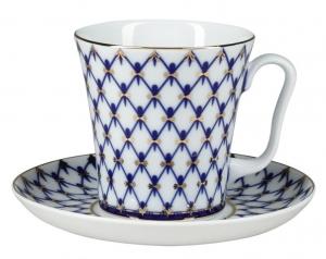 Lomonosov Imperial Porcelain Mug and Saucer Leningradskii-2 Cobalt Net