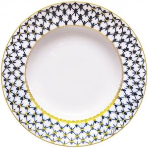 Lomonosov Imperial Porcelain Soup Plate Cobalt Net 8.7