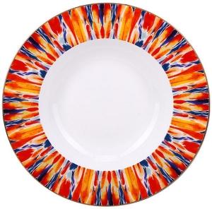 Lomonosov Imperial Porcelain Soup Plate Flame Flower 9.3