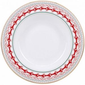 Lomonosov Imperial Porcelain Soup Plate Red Reindeer 8.9