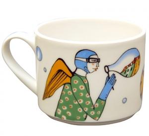 Lomonosov Imperial Porcelain Tea Cup Blowing City 9.5 oz/280 ml