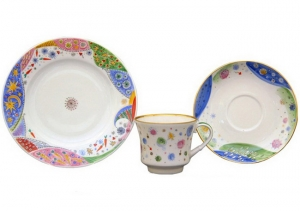 Lomonosov Imperial Porcelain Tea Cup Set 3 pc Banquet Carnival 7.4 oz/220 ml
