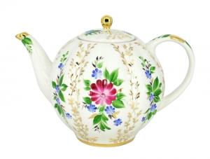 Lomonosov Porcelain Tea Pot Tulip Golden Grasses 10 Cups 67 oz 2000 ml