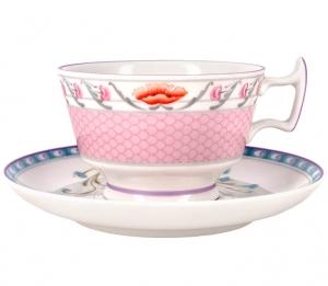 Lomonosov Imperial Porcelain Tea Set Cup and Saucer Alexandria Pheasants 8.4 oz/250 ml