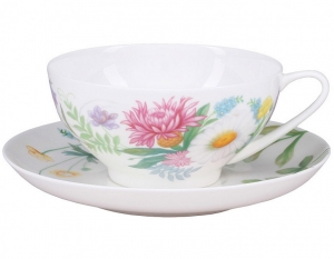 Lomonosov Imperial Porcelain Tea Set Cup and Saucer Dome Wildflowers #2