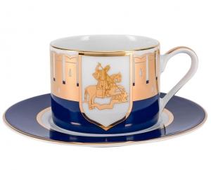 Lomonosov Porcelain Teacup and Saucer Moscow Stars Solo 10.1oz 300 ml