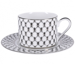 Lomonosov Imperial Porcelain Tea Set Cup and Saucer Solo Platinum
