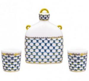 Lomonosov Imperial Porcelain Whiskey/Vodka Decanter Set Slavic Cobalt Net 22 oz/650 ml