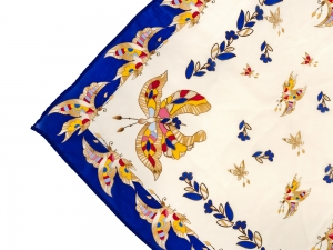Lomonosov Russian Gift Set Сhiffon Silk Scarf 35x35 Fantastic Butterfly