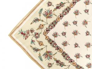 Lomonosov Russian Gift Set Сhiffon Silk Scarf 35x35 Golden Branches v.1
