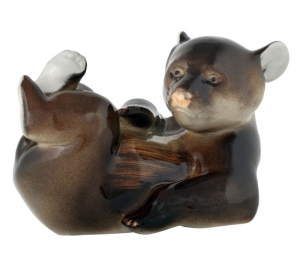Lying Brown Bear Baby Lomonosov Imperial Porcelain Figurine