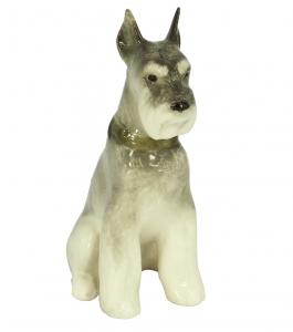 Miniature Schnauzer Dog Sitting Lomonosov Porcelain Figurine