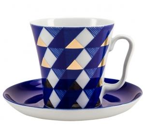 Lomonosov Imperial Porcelain Mug Cobalt Pattern Ukata Leningradskii-2 12.2 fl.oz 360 ml