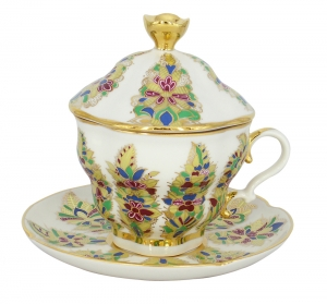 Lomonosov Imperial Porcelain Covered Cup and Saucer Fantastic Flower Gift-2