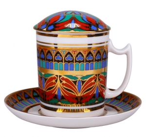 Lomonosov Imperial Porcelain Covered Tea Mug and Saucer Gothic-10