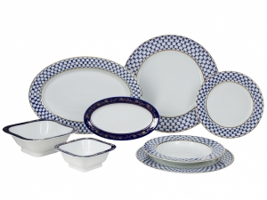 Porcelain Dinner Set European Cobalt Net 24 items Lomonosov Imperial Factory