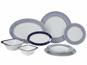 Porcelain Dinner Set European Cobalt Net 24 items Lomonosov Imperial Factory