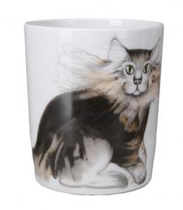 Lomonosov Imperial Porcelain Mug Cat Max Snowy Morning12.8 fl.oz/380 ml