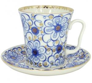 Lomonosov Imperial Porcelain Mug and Saucer Bindweed Leningradskii 12.2 fl.oz/360 ml