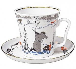 Lomonosov Imperial Porcelain Mug and Saucer Hunting Leningradskii 12.2 fl.oz/360 ml