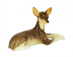 Toy Terrier Russkiy Dog Protecting Lomonosov Porcelain Figurine