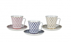Special: Lomonosov Porcelain Mug and Saucer Set 6 items: Cobalt, Red and Golden Net