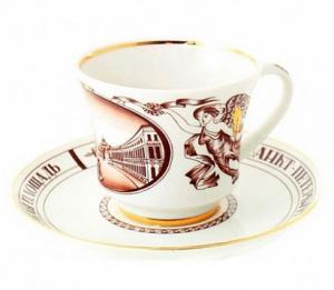 Lomonosov Imperial Porcelain Tea Cup Set Palace Square 7.4 oz/220 ml