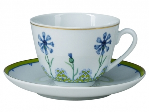 Lomonosov Imperial Porcelain Tea Cup Set Spring Blue Cornflower 7.8 oz/230ml