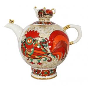 Lomonosov Imperial Porcelain Tea Pot Family Red Rooster 9 Cups