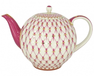 Lomonosov Imperial Porcelain Tea Pot Tulip Red Net 3 Cups 20 oz/600 ml
