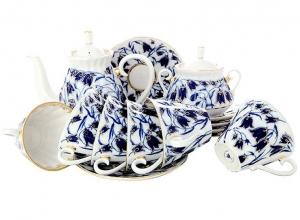 Lomonosov Imperial Porcelain Tea Set Bluebells 6/15