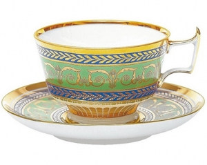 Lomonosov Imperial Porcelain Tea Set Cup and Saucer Alexandria Golden 52 8.4 oz/250 ml