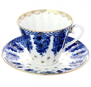 Imperial Lomonosov Porcelain Tea Cup and Saucer Basket 2pc