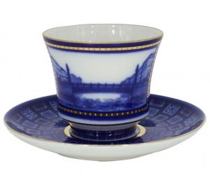 Lomonosov Imperial Porcelain Tea Set Cup and Saucer Egyptian Bridge 7.4 oz/220 ml