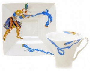 Lomonosov Imperial Porcelain Tea Set Cup and Saucer Indian Dance Bone China 8.45 oz/250 ml