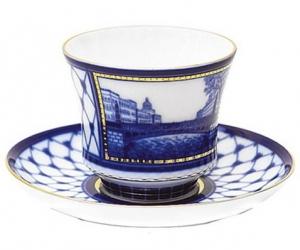 Lomonosov Imperial Porcelain Tea Set Cup and Saucer Kiss Bridge 7.4 oz/220 ml