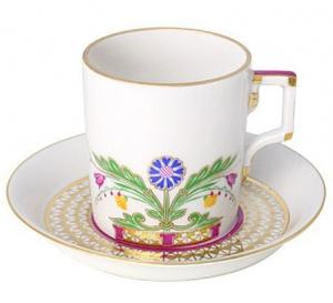 Lomonosov Imperial Porcelain Tea Set Cup and Saucer Moscow River 7.4 oz/220 ml