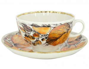 Lomonosov Imperial Porcelain Tea Set Cup and Saucer Tulip My Garden 8.45 oz/250 ml