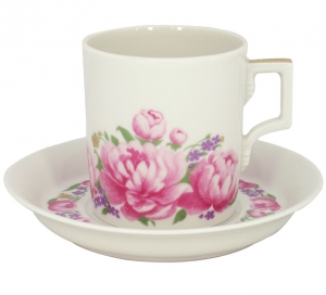 Lomonosov Imperial Porcelain Tea Set Cup and Saucer Romantic Date 7.4 oz/220 ml