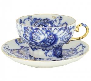 Imperial Lomonosov Tea Set Cup and Saucer Singing Garden 2pcs